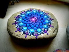 Colorful Stones ~ Hand Painted Rock Art ~ Blue Green Dot art ~ Mandala Stone…