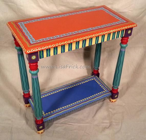 Sold Sample Of Custom Work Side Table Custom Hand Painted Etsy Hand Painted Furniture Painted Side Tables Whimsical Painted Furniture