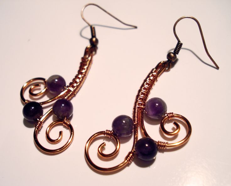 Copper Wire Earrings with Amethist 6mm Beads by IALINA