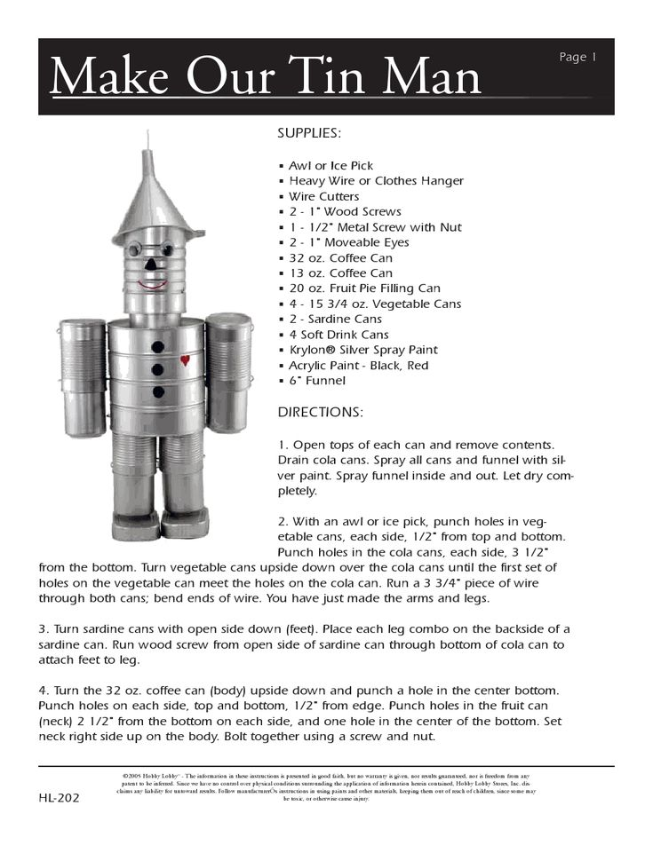 Tin can man directions