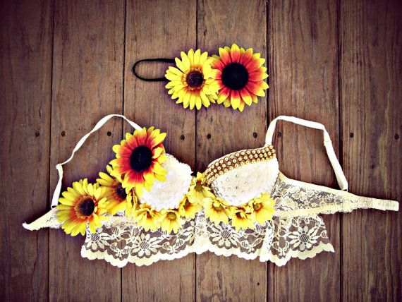 Bohemian Daisy Rave Bra by TheLoveShackk on Etsy