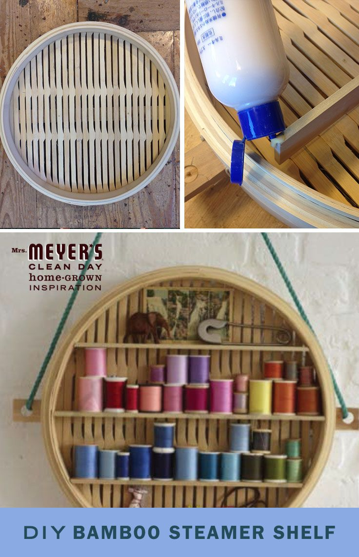 Looking for a unique way to organize little knick-knacks around your home? In just a few steps, you can transform a bamboo steamer into this handy little shelf. It's an ideal (and cute) shelf to store thread or small antiques!