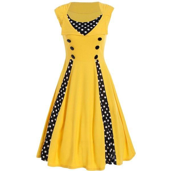 Polka Dot Sleeveless A Line Dress ($25) ❤ liked on Polyvore featuring dresses, sleeveless dress, a line dress, a line silhouette dress, yellow dress and dot dresses