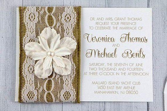 Rustic wedding Invitation - Burlap and Lace invitation on Etsy