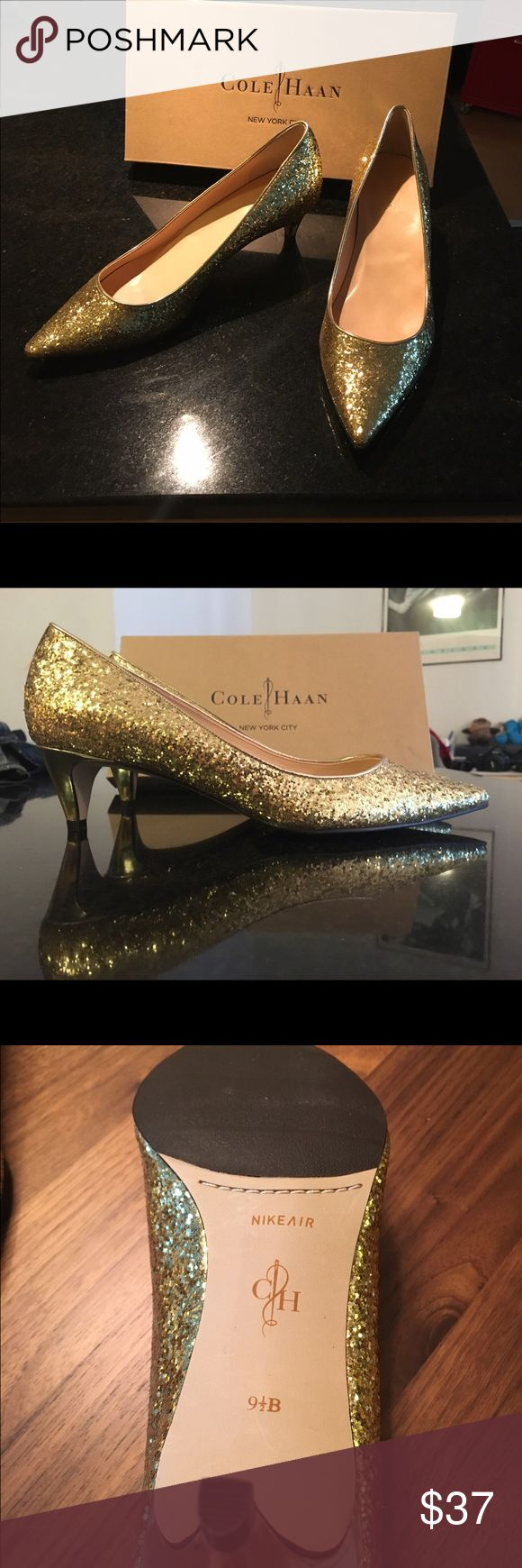 """Cole Haan Air Juliana Glitter Pumps-Gold 9.5 These are fun gold glittery pumps still new in the box.  The soles are very cushioned as they are Cole Haan """"Airs"""" and have a one inch heel Cole Haan Shoes Heels"""