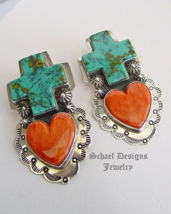 Southwestern Turquoise Cross Spiny Oyster Heart & Sterling Silver CLIP Earrings   Schaef Designs   New Mexico