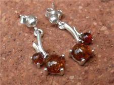COGNAC Baltic Amber 925 Orecchini d'Argento Gioielli silverandsoul