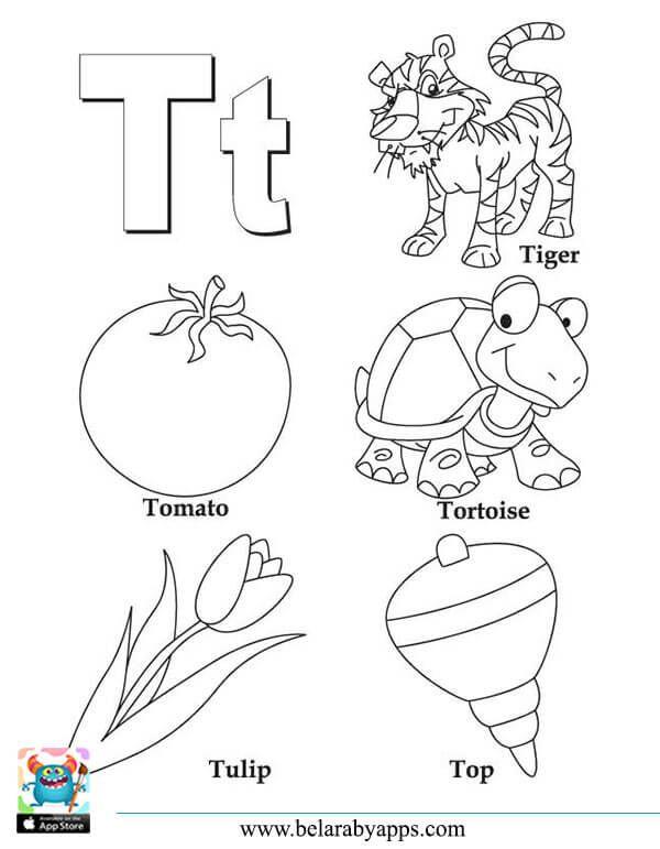 رسومات الحروف الانجليزية كبتل وسمول للتلوين مع الكلمات بطاقات للطباعة بالعربي نتعلم Alphabet Coloring Pages Letter A Coloring Pages Coloring Letters