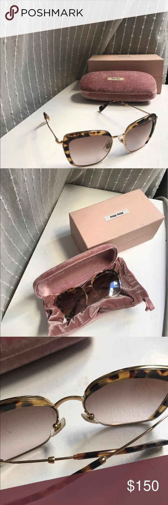 MiuMiu sunglasses MiuMiu sunglasses with original velvet slip, case and box. Slightly worn with a few light marks on the lens and a piece of metal detached on the back that is easily fixable. They just don't suit my face shape. Miu Miu Accessories Glasses