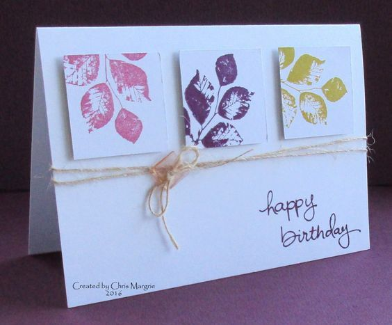 handmade birthday card ... Tumbling Leaves ... clean and simple ... luv the look of modern art for the trio of inchies ... same stamp ... different colors ... different placement ...