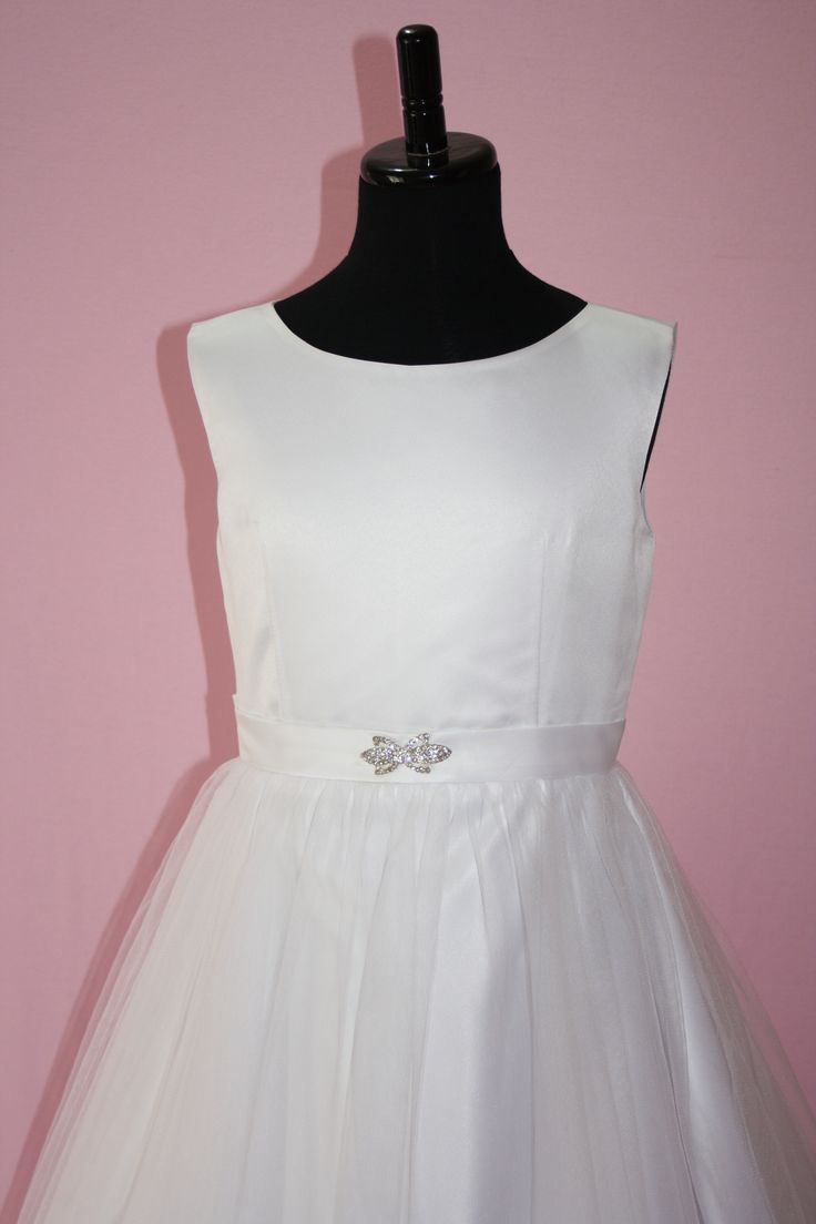 Satin and Tulle Communion Dress from Silk n Satin Communion Dresses.  Style Olivia-137/ $75. https://silknsatincommuniondresses.com.au/product/olivia/