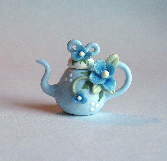 Miniature Blue Fairy Blossom & Bow Teapot OOAK by ArtisticSpirit