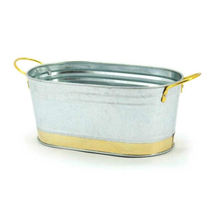 Tin Trough Brass Trim Oblong/Tapered 22.5x13.5x10cmH - Silver | Oceans Floral -Tinware is very versatile, whether you want troughs for hampers or corporate gifts, or buckets and tall tins for flowers; our v-shape tins with ear handles are great for displaying flowers plus our plastic pots and vases pop inside nicely for a water tight option. Our smaller tins work great for gifts, posies, wedding favours, children's parties and baby showers.