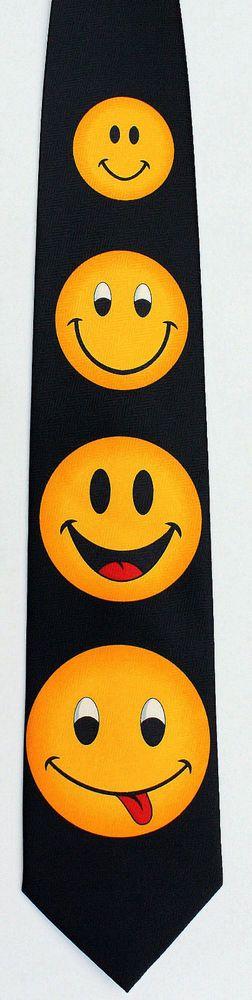 Happy Smiley Faces Mens Necktie Emoticon Face Cartoon Funny Gift Neck Tie New #UomoVenetto #NeckTie
