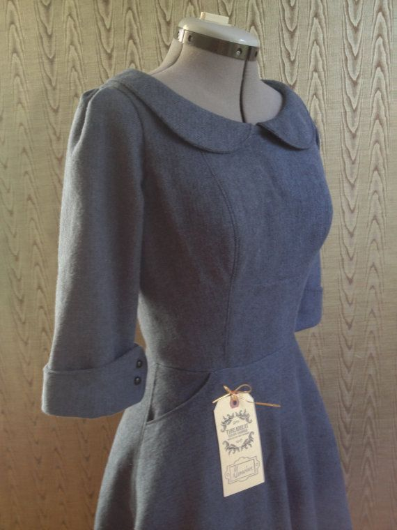 cozy flannel peter pan collar dress with 3/4 cuff sleeves and pockets