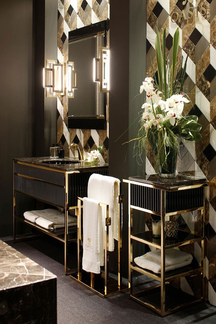 Black and white art deco bathroom - 10 Best Golden Aesthetics For Your Bathroom Design Art Deco
