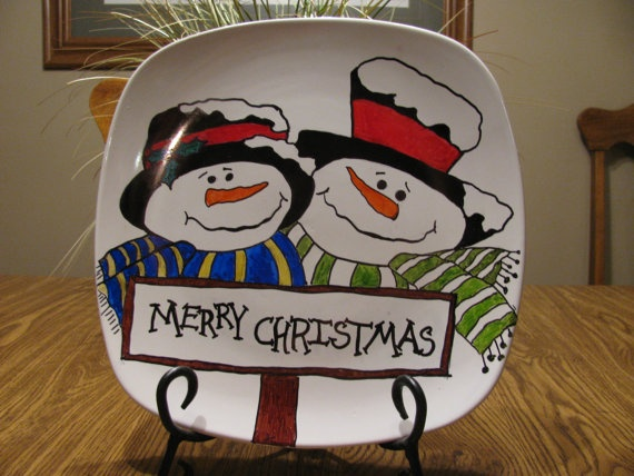 Items similar to Whimsical Handpainted Snowmen Christmas Plate on Etsy : christmas ceramic plates - pezcame.com