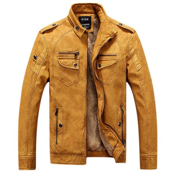 Mens Winter Velvet Plus Thick Warm Stylish Motor Yellow Faux Washed Leather Jackets at Banggood  #men #fashion