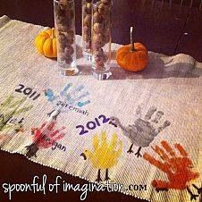 Handprint table runner for thanksgiving...gonna do this with Emmy and future grandbabies!  Love it!!