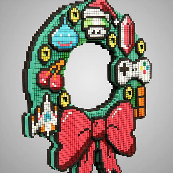 $20 8-Bit Holiday WreathGeek, Christmas Wreaths, Led Holiday, Holiday Wreaths, Gift Ideas, Christmas Decorations, Cuffs Link, 8Bit, 8 Bit
