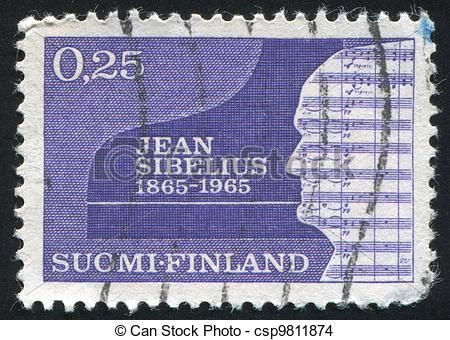 FINLAND - CIRCA 1965: stamp printed by Finland, shows Silhouette of Jean Sibelius, circa 1965