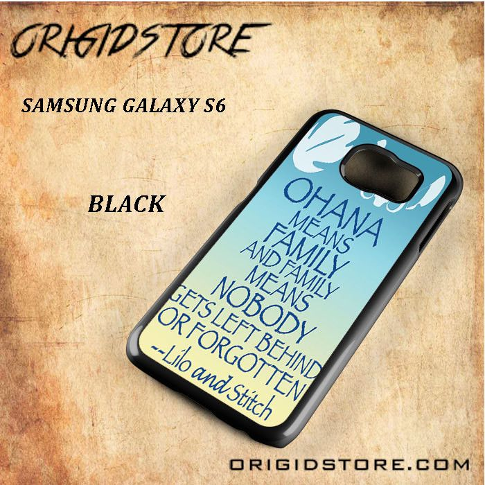 Ohana Means Family Lilo And Stitch Black White Snap On 3D For Samsung Galaxy S6 Case