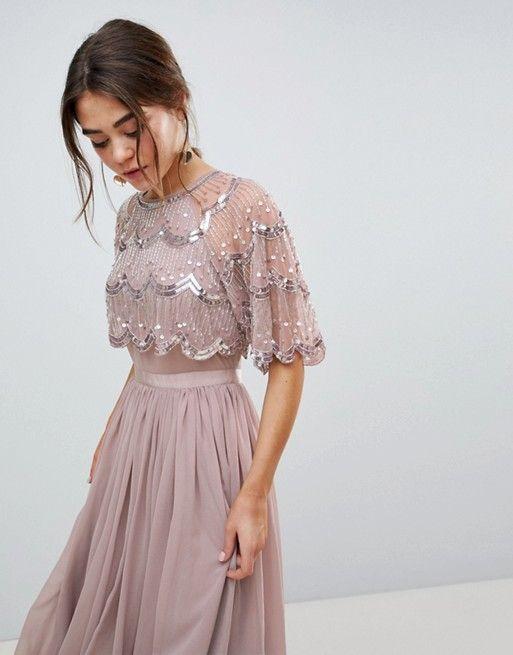 ad7e616a01e7bf DESIGN Scallop Hem Embellished Crop Top Midi Dress
