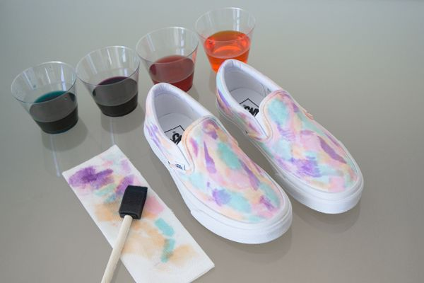 Diy Vans Watercolors Custom Painted Shoes Custom Vans Shoes