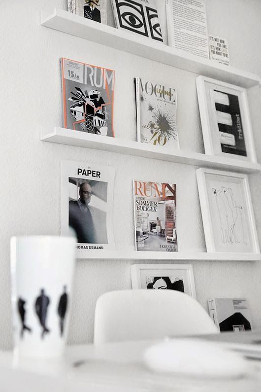 ikea ribba picture ledges in white wall shelves office. Black Bedroom Furniture Sets. Home Design Ideas