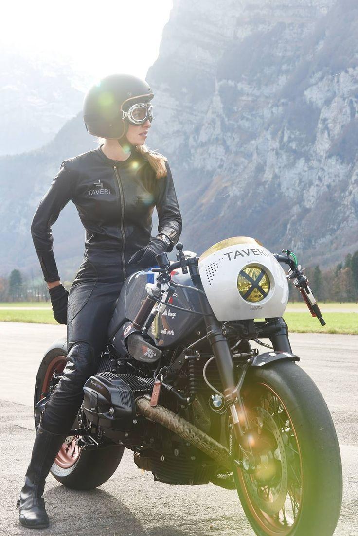 "Sabine Holbrook  on Bmw NineT ""Coffe Low Fat"" VTR Custom  for Tag Heuer  and Taveri Moto."