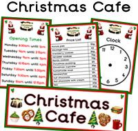 Lots of great FREE Christmas Cafe role play resources. Resources like opening times, clock, signs, prices, Christmas pudding themed borders and much more. For more of these Christmas resources please check out our site. These Christmas Cafe printables are all free to download, plus we have 1000s more free printables available to download. We hope you enjoy our role play resources.