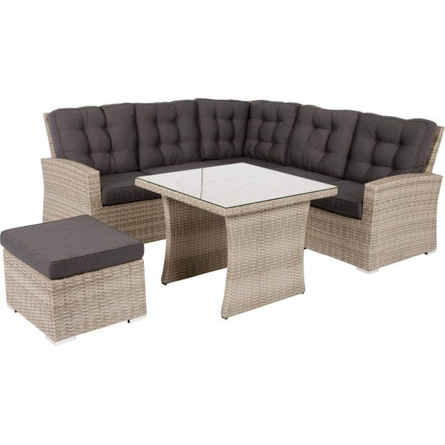 Salon Bas De Jardin Daveport Resine Tressee Gris 6 Personnes Chaise Salon De Jardin Table Et Chaises Salon