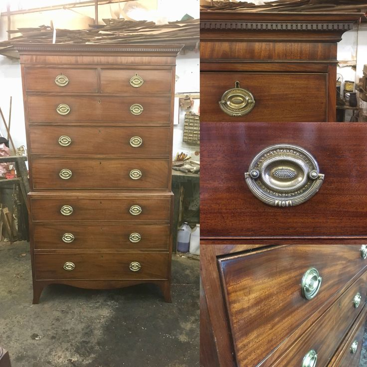 Antique mahogany chest on chest George lll with original brass plate handles and of lovely patina and colour .