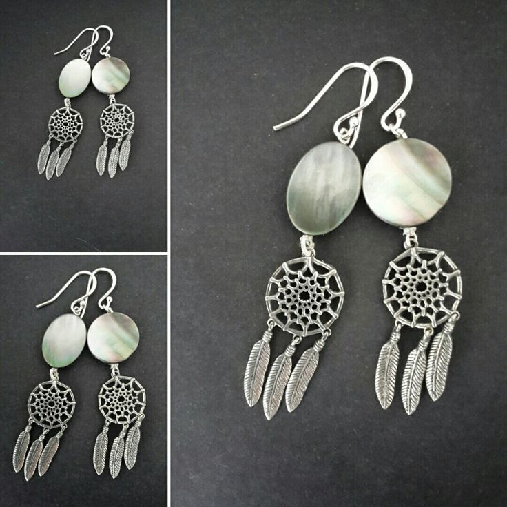 Dream catchers for your ears! Sterling silver pewter and mother of pearl FOR SALE R350
