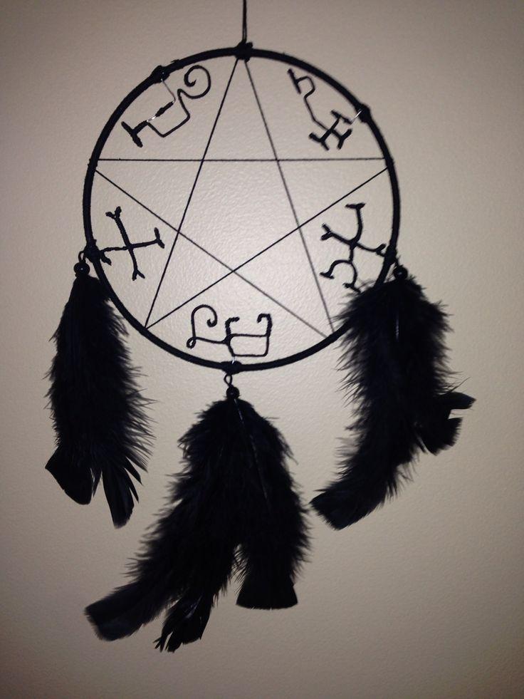 Devil trap dream catcher I made myself based off the supernatural devil traps