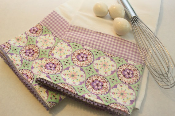 Purple Tea Towels flour sack tea towel set of 2 by CozyByChristine, $22.00