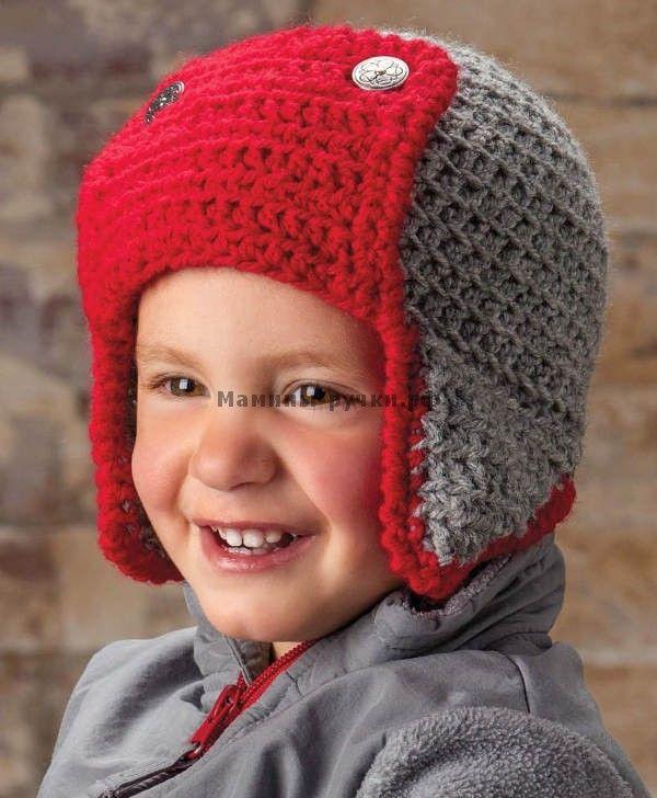 Детская шапка бомбардировщика вязаная крючком (child bomber hat crochet)