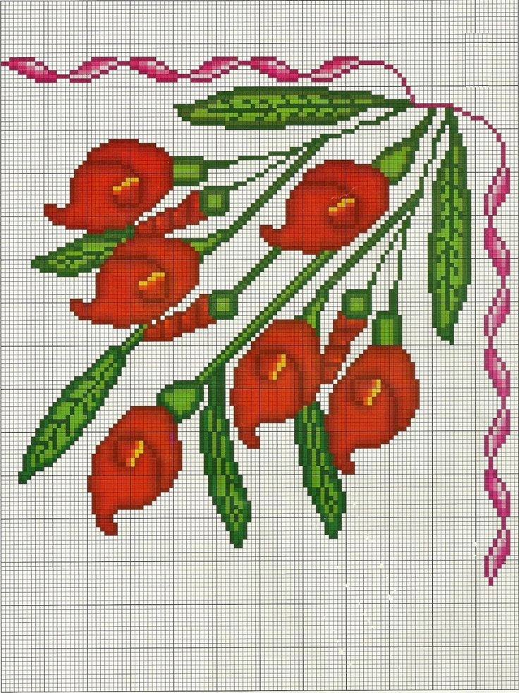 COSTURAS STEPHANY : Patrones de Flores De Punto de Cruz Gratis /Free Cross Stitch Flowers Patterns                                                                                                                                                                                 More