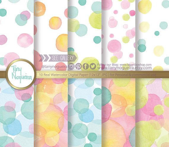 Polka dots Watercolor Digital Paper Watercolour, bubbles, Pink, Turquoise, Yellow, Orange, green, blog backgrounds,, baby shower, baptism