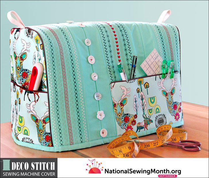 Sewing Machine Cover With Decorative Stitch Button Embellishment
