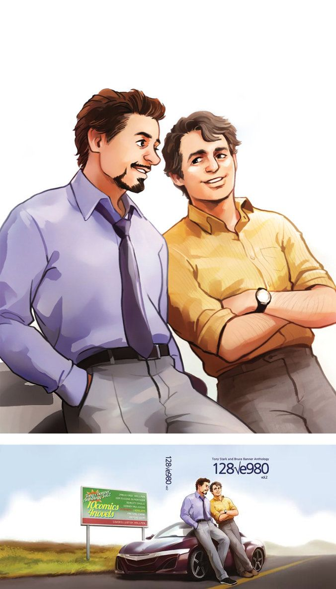 """""""Mr. Stark and Dr. Banner"""" by Hallpen. (Hey, Tony has five -- or seven, depending on the source -- doctoral degrees, so he's a """"Dr."""" too!)"""