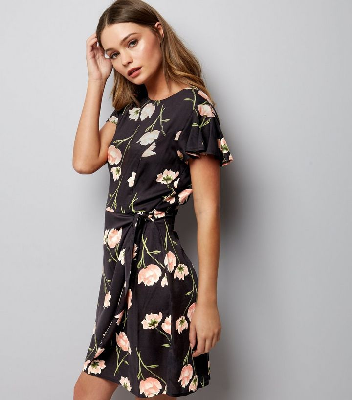 Black Floral Tie Side Wrap Front Skort Dress | New Look