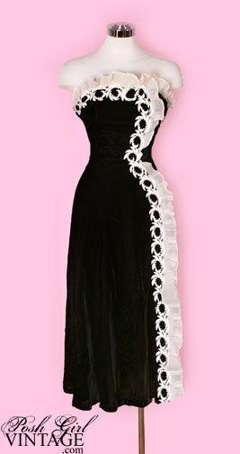 vintage hollywood gowns   1940's Old Hollywood Velvet Strapless Evening Dress vintage evening ...