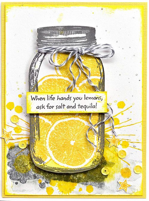 Card by Belinda Spencer using Darkroom Door Tropical Fruit, Watery Washes, Paint Splats Rubber Stamps and Mason Jar Frame Stamp.