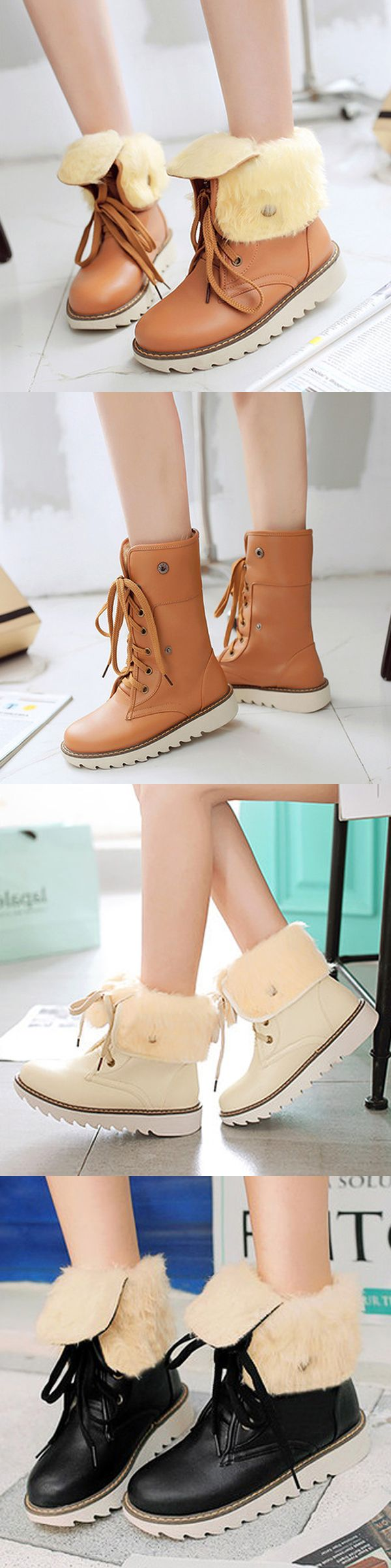 US$21.75 Big Size Multi-Way Button Warm Fur Lining Lace Up Flat Boots