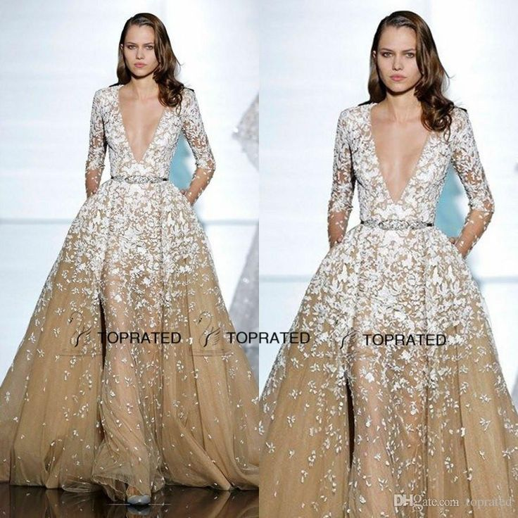 2015 New Zuhair Murad Formal Evening Dresses Long Illusion Sleeve Prom Gown With Deep V Neck Beaded Crystals Appliqued Champagne Tulle Evening Dresses For Teenagers Evening Dresses Shop Online From Toprated, $149.85| Dhgate.Com