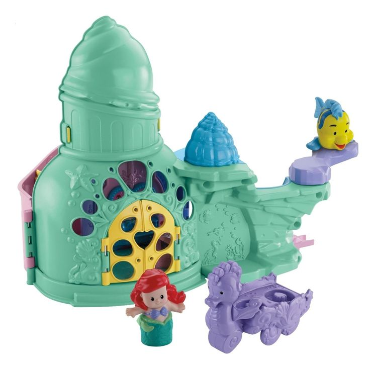 Fisher-Price Little People Disney Princess Ariel and Flounder Playset. Comes with Ariel and Flounder figures, a carriage, a shell bed and 2 chairs. Open the treasure to play music. Helps enhance motor skills, creativity & provides audio stimulation. Ariel sings songs and says phrases in the Disney Princess Palace. Collect all Little People Disney Princess Playsets (sold separately).
