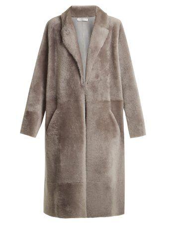 Colette peak-lapel shearling coat