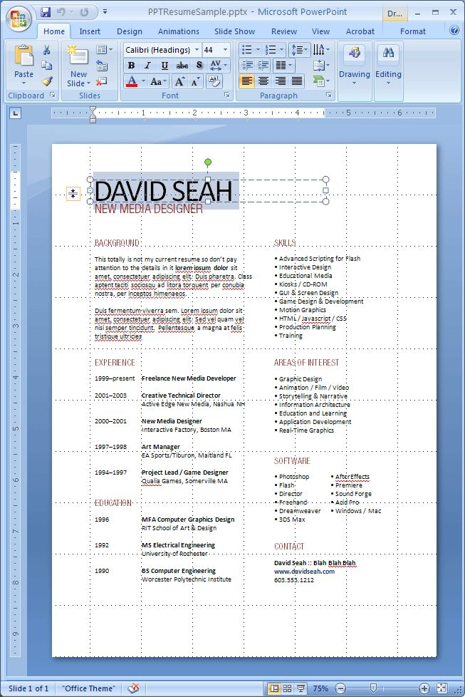 173 best JOB images on Pinterest Resume tips, Resume ideas and - powerpoint resume example