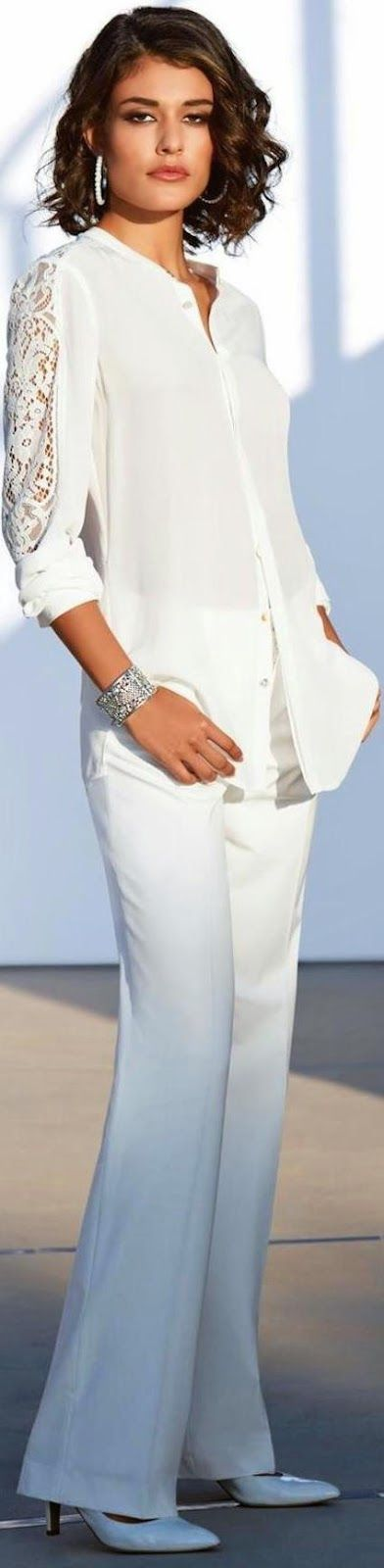 Madeleine ~ Pure Silk Blouse and Trousers, White 2015